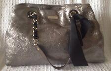 KATE SPADE Metallic Pewter Silver Bow Regard Maryanne Leather Tote Bag Purse
