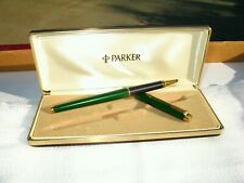 Vintage Parker 180 Gold and Green Malachite Laque Rollerball Pen and Box FRANCE