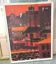 1960's Red Cityscape Oil Panting