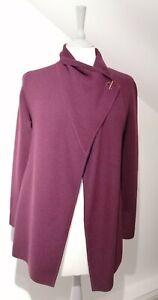 Jigsaw Size S Milano Ring Fastening Pique Cardigan Merino Wool Plum Purple