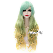 Long Light Green Mixed Blonde 75CM Curly Fashion Cosplay Lolita Women Wig
