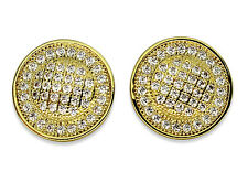 Cz Screw Back Earrings Hip Hop Mens Round Studs Micropave Gold Plated