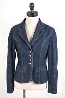 TRUSSARDI Womens 4 Button Denim Blazer Jacket IT 44 Medium Blue Cotton  BB03