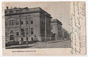 53019 GIRLS HIGH SCHOOL LOUISVILLE KY ANTIQUE POSTCARD 1907