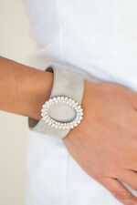 "Paparazzi ""center Stage Starlet Blue"" Rhinestone Leather Bracelet"