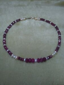 9k 9ct Gold Ruby Gemstone Bead and Pearl Anklet