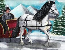 ACEO LIMITED EDITION 50 PRINTS,WINTER WONDERLAND, HORSE AND BUGGY UBER ERIC