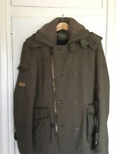 Superdry Wool Military Regiment Jacket Pea Trench Coat Size S Small Army Green
