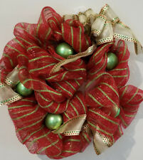 Fall Winter Christmas Holiday Wreath 20 inches Red Netting Green balls Gold Ribb