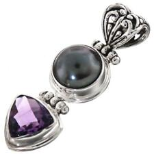 """1 9/16"""" PEACOCK FRESHWATER PEARL TRILLION AMETHYST 925 STERLING SILVER pendant"""