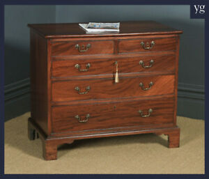 Small Antique English Georgian Flame Mahogany Bachelors Chest of Drawers Tallboy