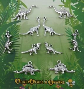 ❤ (NEW) Mixed Dinosaur 3D Charms ❤ Pack of 10 ❤ CRAFTING/JEWELLERY ❤