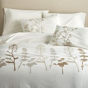 """Crate & Barrel Woodland Queen/Full Duvet Cover Embroidered 92"""" x 96"""" Modern New"""
