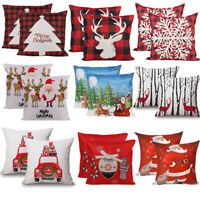 "2PCS 18 x 18"" Christmas Throw Pillow Covers Couch Cases Cotton Linen Santa Claus"