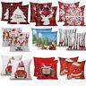 "2PCS 18 x 18"" Christmas Throw Pillow Covers Couch Cases Cotton Linen Santa Claus"