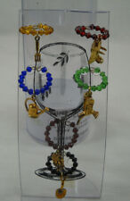 Garden Theme Wine Markers Set Of Six Glass Charms Rake Sunflower Watering Can