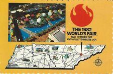 """TN Map"" 1982 World's Fair Deckle Edged Postcard"