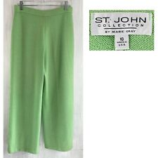 "ST JOHN Sz 10 Green Flat Front Santana Knit 30"" x 27"" Crop Wide Leg Pant EUC"