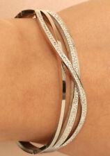 1.40 CTW  Diamond Bangle Bracelet in 14K White Gold Finish 7.25'' LONG