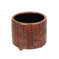 Southwestern Geometric Style Red Ceramic Planter Pot 5.25 Inch Diameter