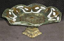 Vintage Round Ruffled Pedestal Cake Dessert Plate Gold White (? Georges Briard)