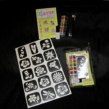 Glittertoos Glitter Tattoo Kit Flowers In Bloom Set Stencils Glue Brushes Colors