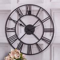 Black metal skeleton wall clock shabby retro chic feature hallway kitchen home