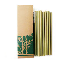 10 X Natural Organic Bamboo Drinking Straws 20CM Reusable Eco & Straw Cleaners