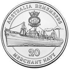 2012 20c Unc Carded Coin - Australia Remembers - Merchant Navy