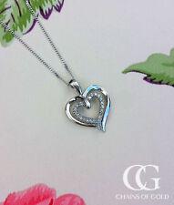 Heart 9 Carat White Gold Fine Diamond Necklaces & Pendants