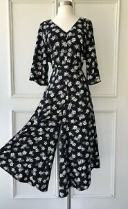 COUNTRY ROAD  ditsy floral wide leg jumpsuit black Like NEW RRP $199 SIZE 8
