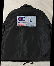 CHAMPION LOGO COACHES JACKET Supreme Large Black FW18 EUC New York Authentic