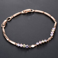 Hot Girls Rose Gold Filled Colorful Link CZ Bracelets Cute Friendship