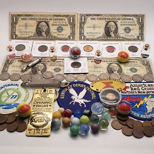 Junk Drawer Lot CASE XX Knife Marbles Bottles Silver Certificates Coins & More