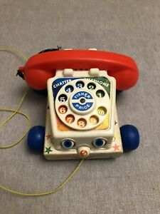 VINTAGE 1961 RETRO FISHER PRICE PULL ALONG CHATTER TELEPHONE PHONE TOY