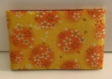 USED XMAS Japanese Pocket 10*7 Orange Yellow Floral Fabric Cosmetic Mirror GIFT
