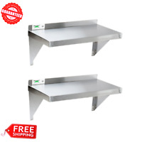 (2/Pack) Commercial Stainless Steel Restaurant Kitchen SOLID WALL SHELF STORAGE