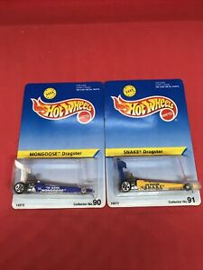 1995 Hot Wheels Snake & Mongoose Collector # 90 & 91 Dragster's Set NIP