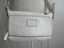 Fossil White Leather Crossbody Bag Zip Closure Additional Front & Back Pockets