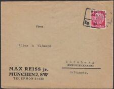 GERMANY, 1934. Cover Mi487, Bahnpost, Munchen-Saalfeld, Nurnberg