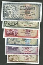 JUGOSLAVIA-Gruppo - 10,20,50,100,500,1000 Dinara 1968-81 UNC (banconote)