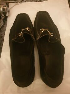 Black Swede Gucci Loafers Size 11.5 D