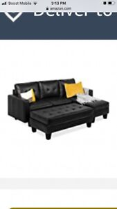best choice products 3 piece L-shape sectional sofa w/Chaise Lounge ottoman