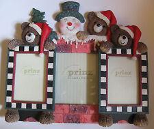 3 PC VINTAGE PRINZ 2.5 x 3.5, 6 x 4 CHRISTMAS RESIN WOOD FRAME SET BEAR SNOWMAN