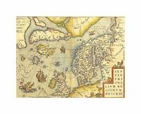 Map Old Vintage North Atlantic Scandinavia Iceland UK Canvas Print