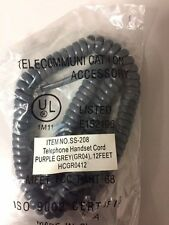 New 12' Handset Cord, for Avaya 2400/5400/4600/5600 Series Phones, Purple Grey