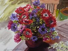 "NEW DORANNE ALDEN ORIGINAL ""Anemones"" flower Watercolour Flowers flower PAINTING"