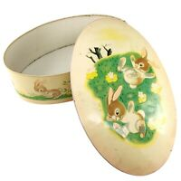 Lively Little Rabbit Tin Metal Box Golden Book Easter Bunny Candy England Vtg