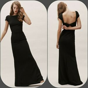 BHLDN Madison Maxi Dress Gown by Katie May Size 8 Black $280