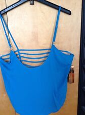 Nicki Minaj blue jewel tank top with slits on the back size L